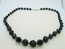 VTG AVON Signed Gold Tone Black Plastic Abstract Beaded Choker Necklace
