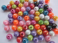 125 x Acrylic pearl spacer round beads 8mm - Multi