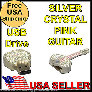 Guitar USB Crystal Bling Necklace Thumb Drive memory stick chip Jump Drive metal