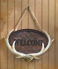 Woodland Antler Welcome Plaque Rustic Deer Cabin Lodge Northwoods Wall Decor