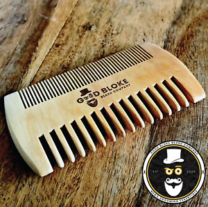 UK Beard Hair Comb Natural Wooden Anti Static Double Sided Oil Balm Wax Brush