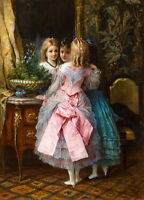 Canvas Print Cute Little Girl In The Palace Oil painting Printed on canvas P704