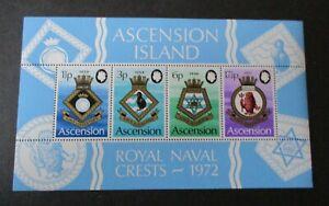 Ascension 1972 Royal Naval Crests MS MS158 MNH UM unmounted mint
