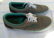 Vans Authentic Gray & Teal Canvas Skateboarding Sneakers Shoes Men's 8 EUC