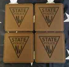 "NJSP New Jersey State Police 4"" Dark Brown Leather Coasters Set of 4"