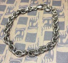 "BRIGHTON Medium OVAL Scroll Chain Bracelet Excellent Condition Adjustable 8.5"""