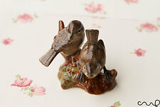 Ceramic Handpainted Birds Ornament Figurine Miniature In Gloss Pottery Brown