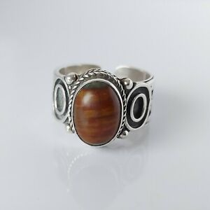 Fine Beautiful Large Chunky Sterling Silver & Agate Ring  UK Size V