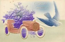 Blue White Birds Swoops Out Ahead of Vintage Gold Auto~Purple Violets~Airbrushed
