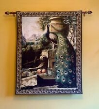 """Peacock Tapestry Wall Hanging Woven Jacquard 40"""" X 53"""""""