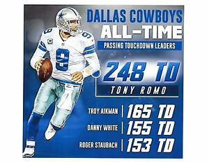 TONY ROMO 8X10 PHOTO DALLAS COWBOYS ALL-TIME TD LEADERS PICTURE WIDE BORDER