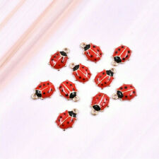 Enamel Red Ladybugs Charms Gold Tone Alloy Insect Necklace Pendant DIY Making