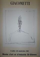 Alberto Giacometti Affiche Lithographie Musée d'Art de  Saint Etienne