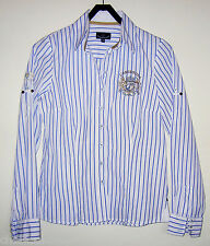 L'Argentina Bluse, Größe 36, Blau-Weiß gestreift, Baumwolle