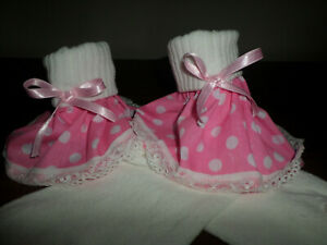ADULT BABY SISSY WHITE ANKLE SOCKS PINK SPOT FRILLY LACE TRIM SATIN BOWS  8-11