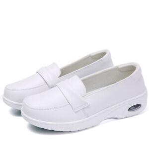Womens Genuine Leather Nurse Shoes Soft Flat Bottom Round Toe Non-Slip Pump Heel
