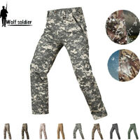 Mens Military Pants Tactical Combat Cargo Shell Waterproof Casual Trousers Camo