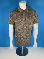 Fred Perry Brown Paisley Print Slim Fit Polo Large Ska Mod Scooter
