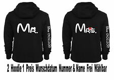Mr Mrs Hoodie Pullover Partner Look Pärchen Sweatshirt Viele Farben XS - 5XL New