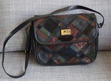 Vintage original 1970s Marc Chantal patchwork shoulder bag handbag 2 zip pockets
