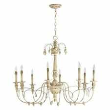 Horchow French Restoration  Beaded Vintage White 8 Light Chandelier $750