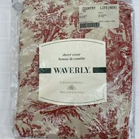 Waverly Country Life Sienna Red French Country Toile Pastoral Twin Duvet Cover