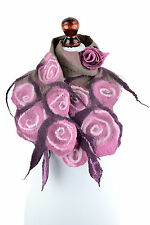 Retro rose scarf for women, romantic & feminine pink nuno felt scarf with roses