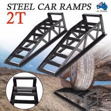 2pcs Vehicle Car Ramps Lifts Loading 2 Ton 2000kg Heavy Duty Steel Black AUS