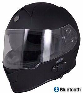 Torc T14 Built In Bluetooth Full Face Dual Visor Motorcycle Helmet Flat Black