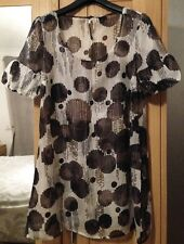 Ivory + brown sheer belted ladies tunic with puff sleeves. Size 12. BNWOT. VGC.
