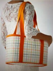 "New Sommar 2015 Insulated Bag 10.5"" x 20.5"" w Handles/Zipper, Check Orange/Green"