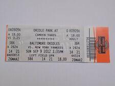 Baltimore Orioles v New York Yankees MLB Baseball Vintage Ticket Stub Sep 9 2012