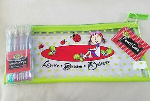 """Clear Pencil Case """"Live Love Believe"""" & Ladybugs w/ Mini Glitter Gel Pens New"""
