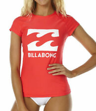 "NEW + TAG BILLABONG WOMENS (10) ""SURF DAYZ"" WETSHIRT RASHIE RASH VEST FIESTA RED"