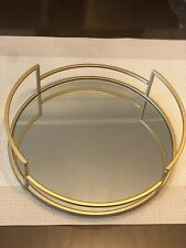 Round gold mirror candle tray plate wedding table decorative mirror tray