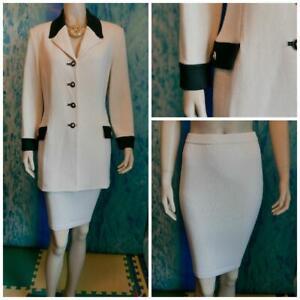 St John Collection Knits Cream Jacket Skirt L 12 10 2pc Suit Buttons Black Trims