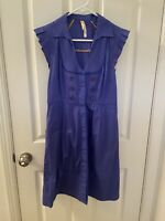 Anthropologie Maeve Dress Blue A-Line Flutter Sleeve Button Up Women's Size 6