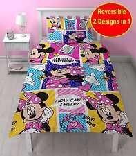 Disney Minnie Mouse Individual Juego Colcha Edredón Niña Amarillo Rosado