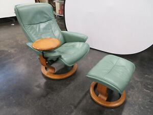 Stressless - Ekornes Green leather Swivel Reclining Arm Chair - Footstool