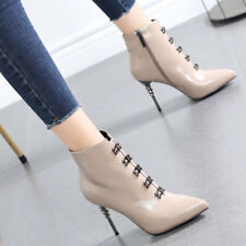 Women Stylish Rivet High Heels Stiletto Ankle Boots Pointed Toe Patent Leather