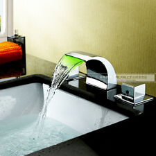 LED RGB Sink Waterfall Faucet Set Daul Knobs Brass Chrome No Battery Brand New