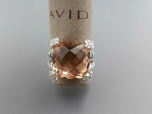 David Yurman Cushion On Point 15x15mm Ring With Morganite and diamonds size 6