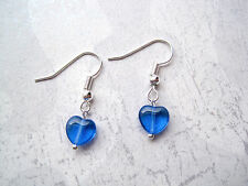 Tiny Cobalt Blue Glass Puff Love Heart Earrings Lightweight Gift Bag Valentines