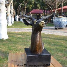 Western European style Art Deco Sculpture Elk Deer Wapiti Bronze Copper Statue