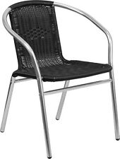 Indoor or Outdoor Restaurant Chair with Aluminum Frame and Black Rattan