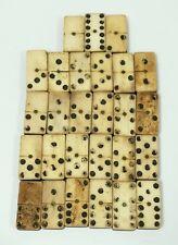 Antique Handmade Bone & Ebony Dominos  - 27 Pieces, 19thC.