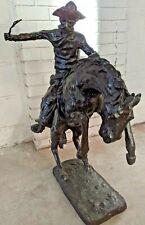 Vintage BRONCO BUSTER By Frederic Remington Black Cast Bronze Statue - CS P26