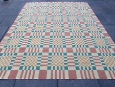 Old Hand Made French Design Wool Green Red Large Original Aubusson 297X242cm