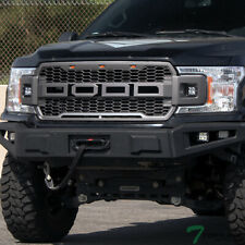 Topline For 18-19 Ford F150 RP Honeycomb Mesh Grille+12W LED Bars - Gray Silver