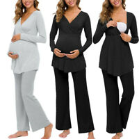 2PCS Women Pregnancy Maternity Nursing Solid Long Sleeve Tops Pants Pajama Suit